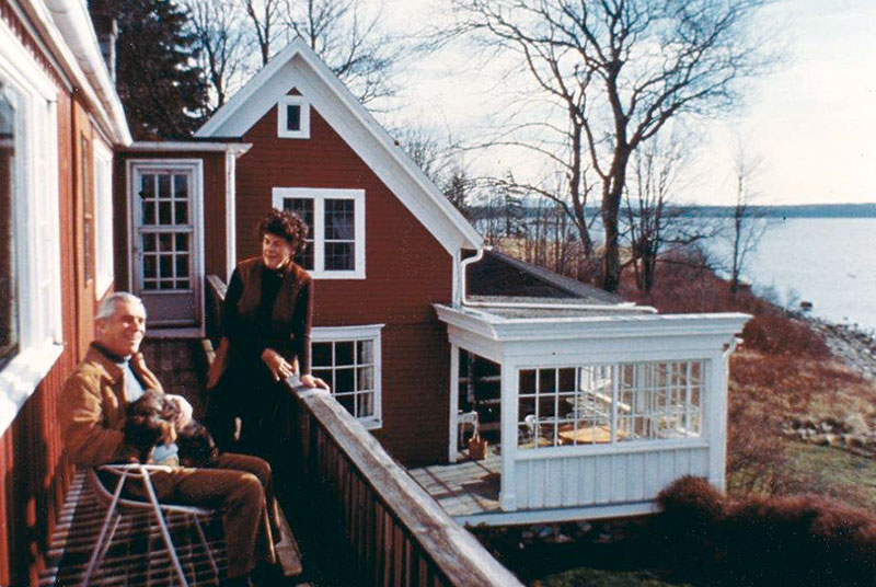 Samuel Taylor, with his wife, Suzanne, in East Blue Hill, Maine, November 1977.