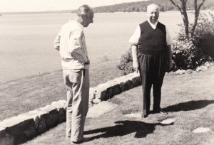 Samuel Taylor with Alfred Hitchcock in Maine, July, 1966